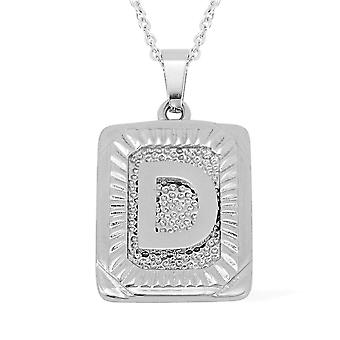TJC Initial Alphabet D Necklace for Women in Stainless Steel