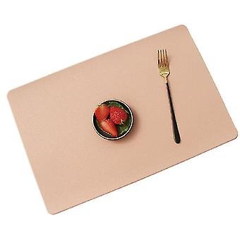 2pcs Place Mat Tableware Pad PU Leather Heat Insulation Coaster Table Pad(Green)