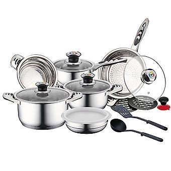 Ensemble de casseroles avec ustensiles de cuisine, 4 casseroles - Argent