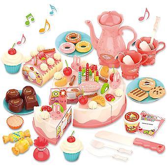 Syntymäpäiväkakku lelu lapsille teeskennellä pelata ruokaa asetettu valolla (82kpl)