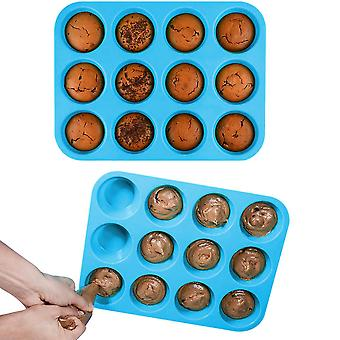 Molde de silicone redondo de 12 cavidades para sabão, bolo, pão, cupcake