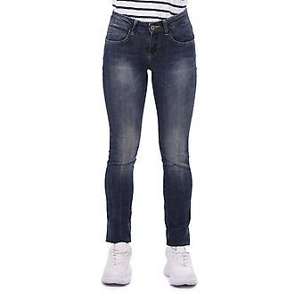 Blå hvite kvinners jeans