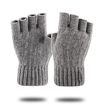 Knitted Fingerless Gloves Winter Thicken Warm Touch Screen Gloves Unisex Outdoor Stretch Elastic Warm Half Finger Cycling Gloves