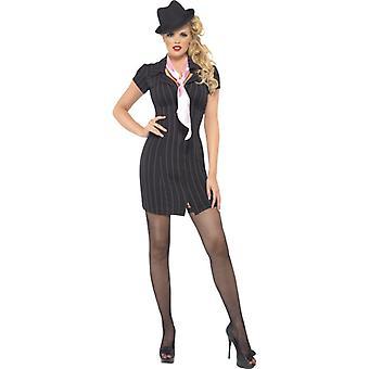 Gangster Lady kostume sort nålestribet kjole og tørklæde Str. M