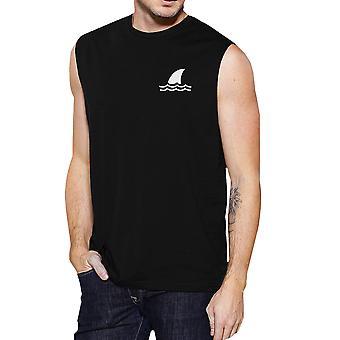 Mini tiburón negro ligero hombres verano músculo superior fresco verano t