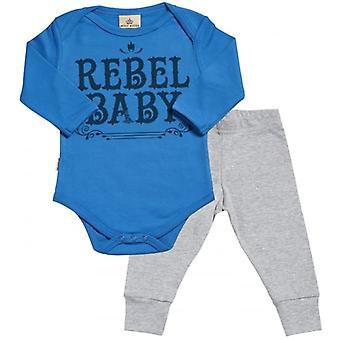Spoilt Rotten Rebel Baby Babygrow & Jersey Trousers Outfit Set