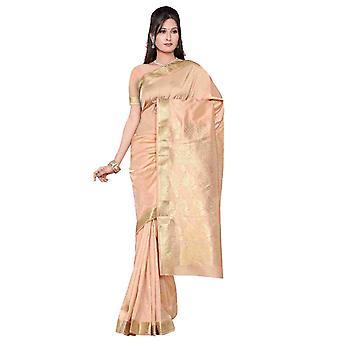 Golden - Sari di seta di arte di Benares / Saree/Bellydance tessuto (India)