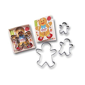 Cooksmart Kids 3 Piece Gingerbread Boy Cookie Cutter Set