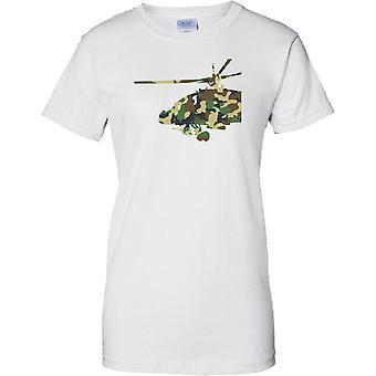 Apache helicóptero Camo efecto - ejército aire ataque Chopper - señoras T Shirt