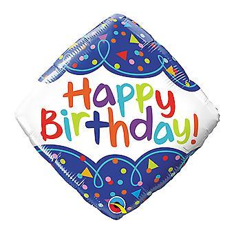 Qualatex 18 Inch Birthday Scribble Confetti Diamond Foil Balloon