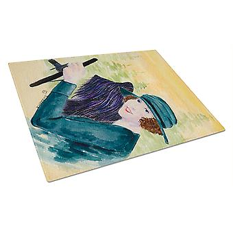 Carolines Treasures  SS8549LCB Lady driving with her Briard Glass Cutting Board