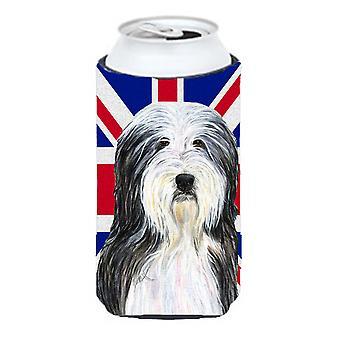 Collie Barbudo inglés Union Jack británico bandera muchacho alto bebidas aislante