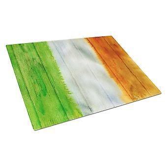 Carolines Treasures  BB5753LCB Irish Flag on Wood Glass Cutting Board Large