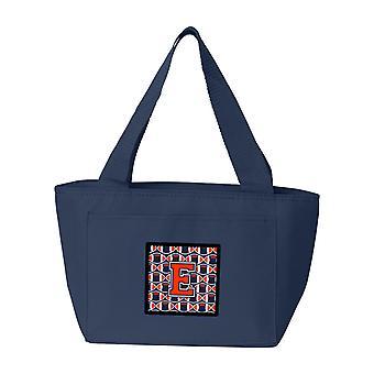 Letter E Football Orange, Blue and white Lunch Bag