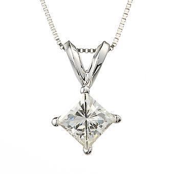 White Gold Square Brilliant Cut 4.5mm Moissanite Pendant Necklace, 0.60ct DEW