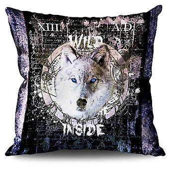 Forest Wolf Beast Linen Cushion 30cm x 30cm | Wellcoda