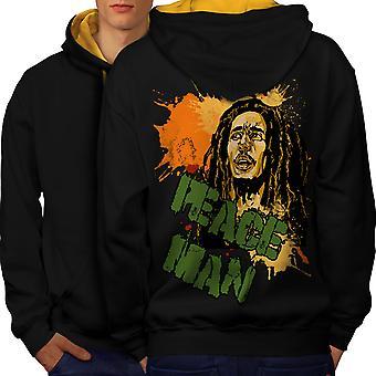 Bob Marley rauhan Rasta miesten musta (Gold Hood) kontrasti huppari takaisin | Wellcoda