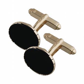 9 قيراط الذهب 12x17mm البيضاوي قطب الجزع تعيين أزرار اكمام