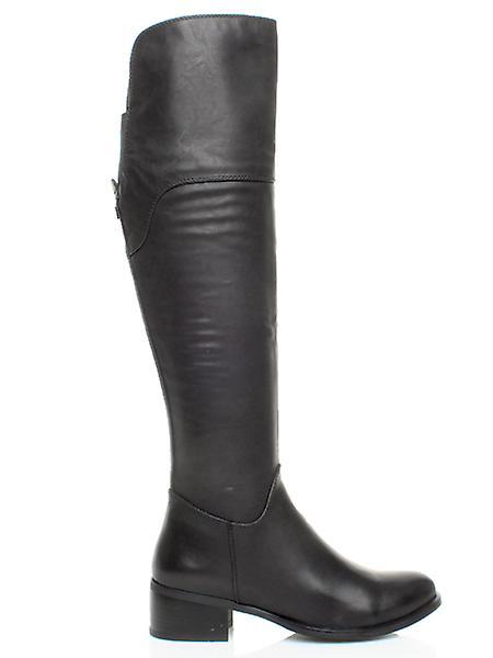 Ajvani womens low heel flat pull on chelsea stretch ankle shoe boots
