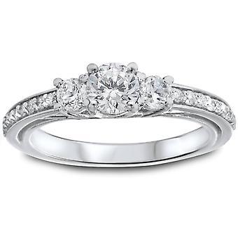 1 1 / 4ct 3 - Stein-Diamant-Ring 14K Weissgold