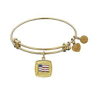 "Stipple Finish Brass American Flag Angelica Bangle Bracelet, 7.25"""