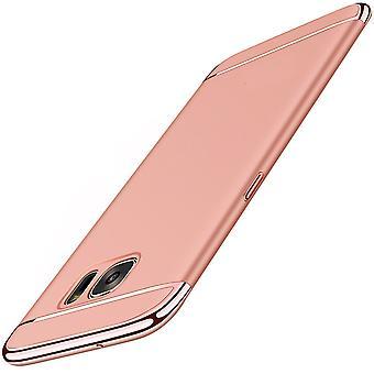 Handy Hülle Schutz Case für Samsung Galaxy A8 2018 Bumper 3 in 1 Cover Chrom Rose Gold