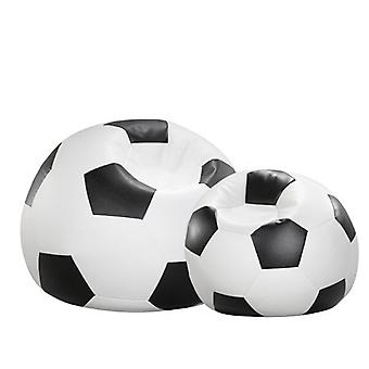Bean bag cushion football black and white leatherette 90 x 90 x 90 cm