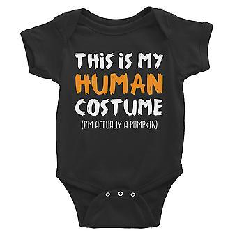 Human Costume Pumpkin Baby Bodysuit Gift Black