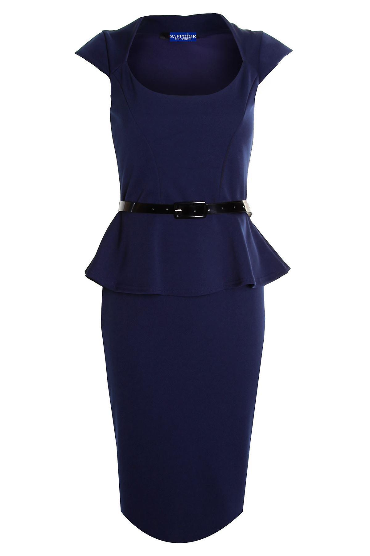 Hyvät Cap Sleeve turvavyötä Peplum polven pituus röyhelö lyijykynä hame Bodycon naisten Dress