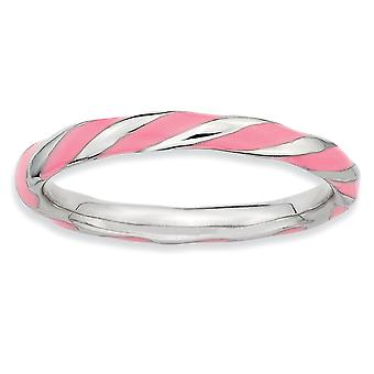 925 Sterling Silver Polished Rhodium plated Twisted Pink Enameled 2.4 x 2.0mm Stackable Ring Jewelry Gifts for Women - R