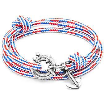 Horgony és a legénység Clyde ezüst és kötél karkötő-piros/fehér/kék