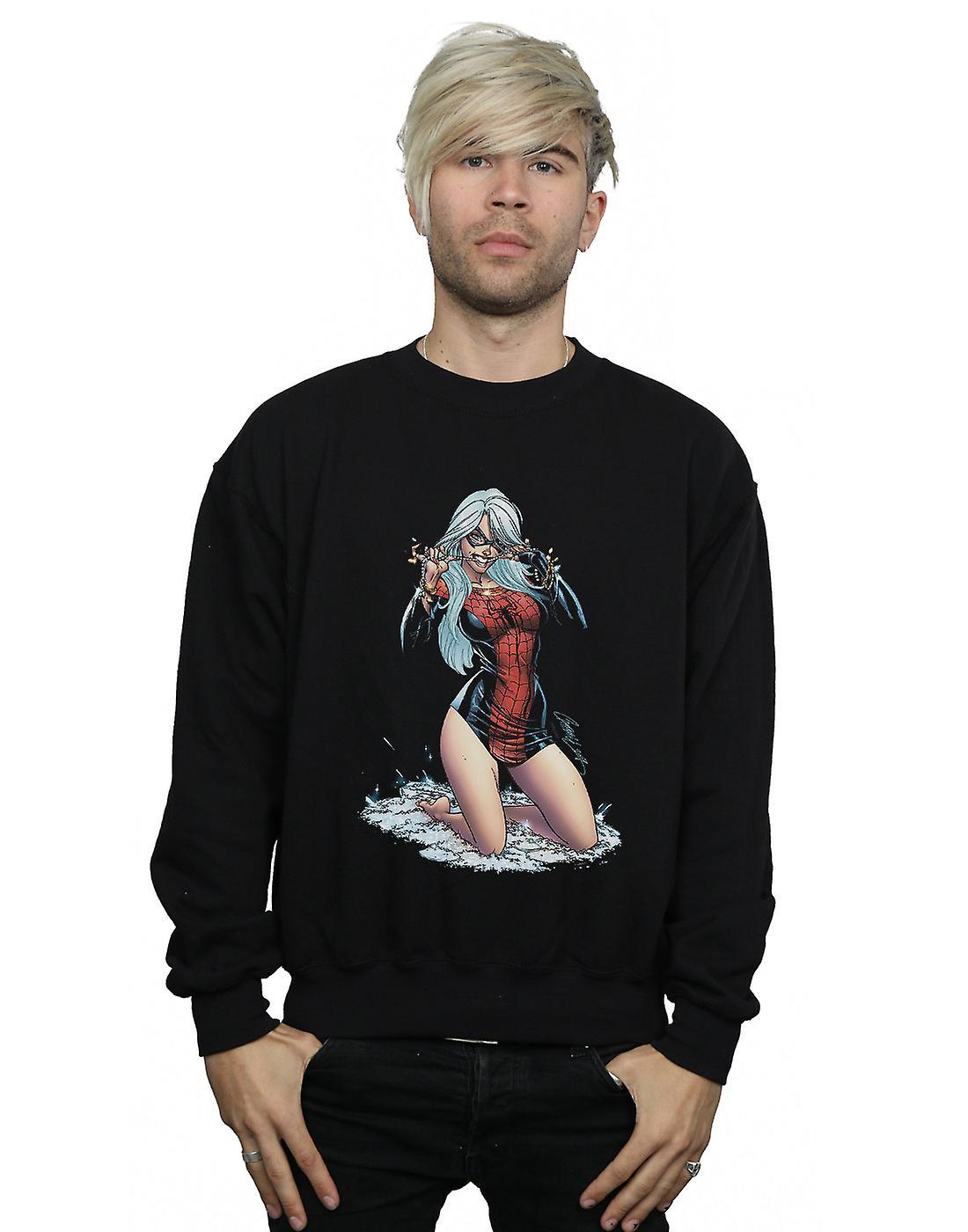 Marvel Men's Black Cat Spider Suit Sweatshirt