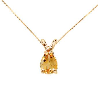 LXR 14k Yellow Gold Pear Shaped Citrine Pendant 0.65 ct
