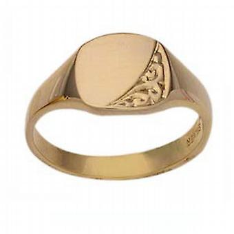 9ct Gold 8x10mm ladies engraved TV shape Signet Ring Size P