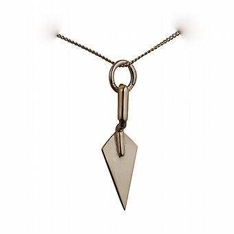 9ct Gold 23x6mm solid Builders Trowel Pendant with a curb Chain 20 inches