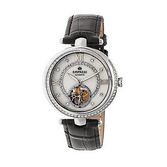 Empress Stella Automatic Semi-Skeleton MOP Leather-Band Watch - Black/White