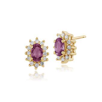 9ct Yellow Gold Rosa safir & diamant Stud örhängen