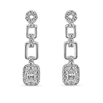 Ah! Jewellery Princess Cut Drop Crystals from Swarovski Earrings Sterling Silver