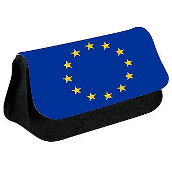 EU Flag Printed Design Pencil Case for Stationary/Cosmetic - 0209 (Black) by i-Tronixs