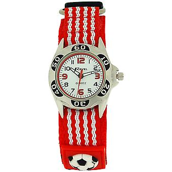Ravel Analogue Boys Red & Black Football Fabric Easy Fasten Strap Watch R1507.17