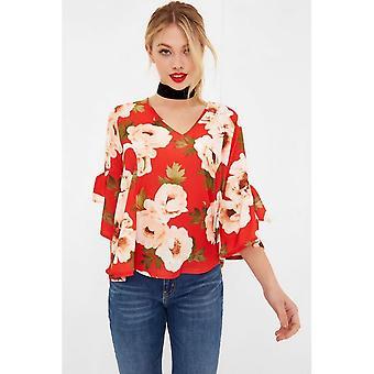 Girls On Film Womens/Ladies Red Floral Print Tie Sleeve Blouse