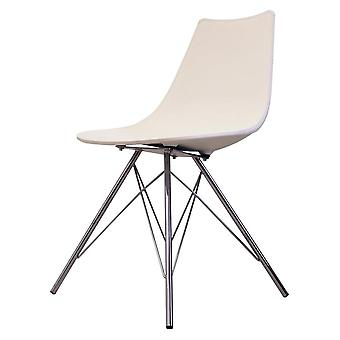 Fusion Living Iconic White Plastic Dining Chair With Chrome Metal Legs