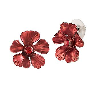 Eternal Collection Jasmine Red Enamel Crystal Silver Tone Stud Pierced Earrings
