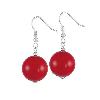Eternal Collection Brazen Red Mountain Jade Silver Tone Drop Pierced Earrings