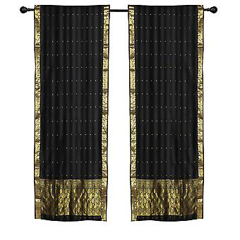 2 Boho Black Indian Sari Curtains Rod Pocket Window Panels Drapes