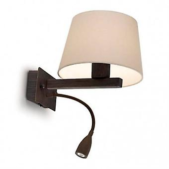 Led 2 Light Indoor Wall Light Brown With Reading Lamp