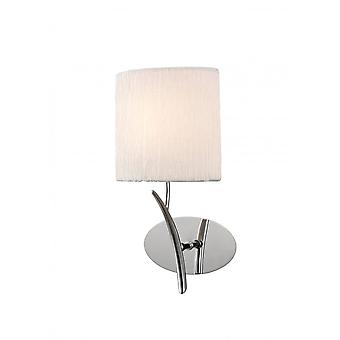 Mantra Eve Wall Lamp Switched 1 Light E27, Polished Chrome With White Oval Shade