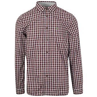 Lacoste langermet Navy & rød sjekk skjorte