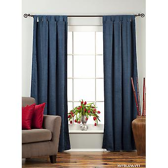 Navy Blue Tab Top Velvet  Curtain / Drape / Panel  - 84