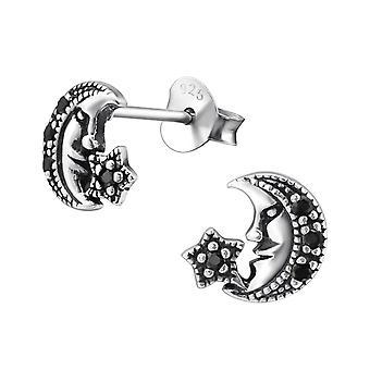 Moon - 925 Sterling Silver Cubic Zirconia Ear Studs - W30819X